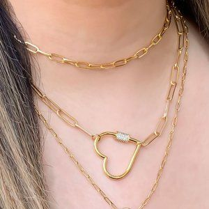 Jewelry - Diamond Heart Carabiner on Paperclip Chain